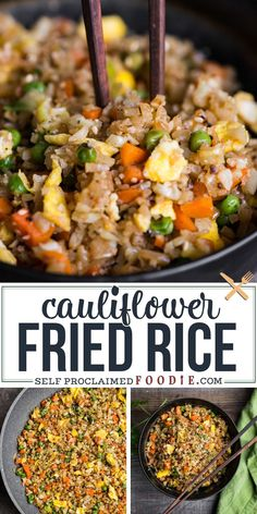 Cauliflower Fried Rice is an easy to make a tasty low carb meal packed with vitamins and flavor This rice is so good you won t even think you re eating healthy Minced raw cauliflower is the perfect substitute for rice in this recipe Healthy Rice Recipes, Vegetable Recipes, Diet Recipes, Vegetarian Recipes, Fried Rice Recipes, Healthy Low Carb Meals, Healthy Fried Rice, Tasty Meals, Easy Recipes