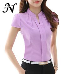 chemise femme on sale at reasonable prices, buy 2017 New Office Women Shirts Blouses White Pink Purple Elegant Ladies Chiffon Blouse Short Sleeve Womens Tops Chemise Femme 3904 from mobile site on Aliexpress Now! Blouse Designs, Blouses For Women, Womens Fashion, Ol Fashion, Korean Fashion, Style Fashion, Outfits, Clothes, Chiffon Shirt