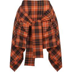 Vivienne Westwood Anglomania Tartan Hope Skirt (14.710 UYU) ❤ liked on Polyvore featuring skirts, bottoms, asymmetrical hem skirt, tartan plaid skirt, draped skirts, brown skirt and tie-dye skirt