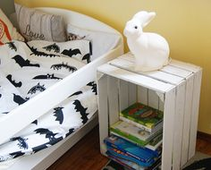 kids room, rabbit, Heico, blog, inspiration, children room, boy room, lamp, night lamp, lampka nocna, królik, skrzynka drewniana, pościel nietoperze