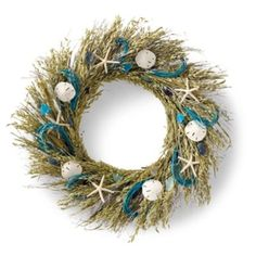 """Sea Glass Wreath - Frontgate   $69.50  for 22""""; $129 for 29""""  indoor or covered outdoor"""