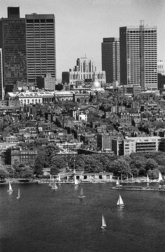 U.S.A. Sailboats on Charles River Basin with Beacon Hill in background, downtown Boston by Boston Public Library, via Flickr