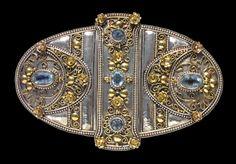 ARTS & CRAFTS - Buckle. Silver, Gold and Aquamarine. British, c.1900 (Ref: 376)