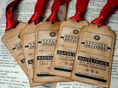 Christmas tags with an aged look.