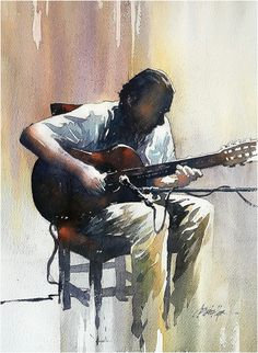 Spanish Guitar by Thomas W. Schaller Watercolor ~ 22 inches x 15 inches Watercolor Painting Techniques, Watercolor Artists, Watercolor Portraits, Watercolor Landscape, Watercolor Paintings, Watercolours, Watercolor Trees, Painting Tutorials, Abstract Paintings