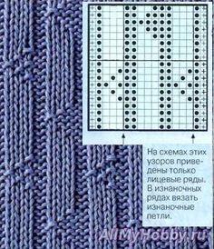 Узор для вязания спицами №274.Схема для вязания спицами №274. Рельефные узоры.