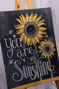 Chalkboard sign for a You are my sunshine baby shower party! See more party idea. - Chalk Art İdeas in 2019 Summer Chalkboard Art, Chalkboard Signs, Chalkboards, Chalkboard Ideas, Chalkboard Party, Baby Shower Chalkboard, Chalkboard Drawings, Chalkboard Lettering, Sunflower Party