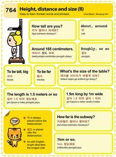 Easy to Learn Korean 764 - Height, Distance, and Size (Vocab) Korean Slang, Korean Phrases, Korean Verbs, Korean Words Learning, Korean Language Learning, Learning Spanish, Learning Italian, How To Speak Korean, Learn Korean
