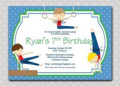Gymnastics Birthday Party Invitation  for Boys by SwishDesigns on Etsy, $15.00