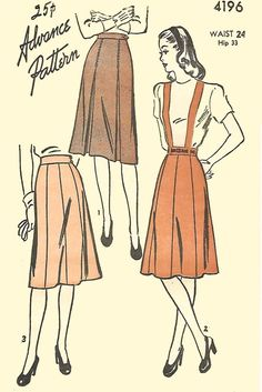"""Vintage 1940's Sewing Pattern Day Skirt With Suspenders Braises WWII WW2 W 24"""" #Advance"""