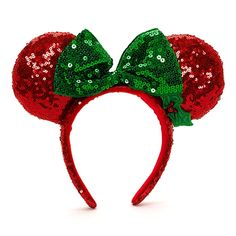 red minnie mouse polka dot material | Minnie Mouse Christmas Sparkle Ears