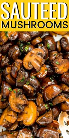 Sauteed Mushrooms are so easy to make! They are browned in butter and olive oil and seasoned with garlic and salt. A glaze made of balsamic, brown sugar, and black pepper make this side dish a total crowd-pleaser. Side Dish Recipes, Vegetable Recipes, Vegetarian Recipes, Cooking Recipes, Healthy Recipes, Recipes Dinner, Sauteed Mushrooms For Steak, Stuffed Mushrooms, Stuffed Peppers