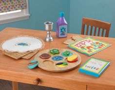 Children's Complete Wooden Passover Set. Let them learn by imitation with their very own Seder set for Passover.