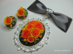 red, orange and yellow clay flower pendants cabochons