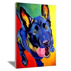 Colorful German Shepherd dog Canvas Art #decor #wall art #interiors #pets