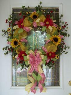 Sunflower Wreath Spring Wreath Summer Wreath by CarolinaBowCompany,