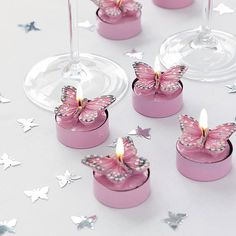 Pink Butterfly Tea Lights Pack buterflies buterfly butterflies candles decorations rex table tealights t-lights tlites t Butterfly Wedding Theme, Butterfly Birthday Party, Butterfly Baby Shower, Pink Butterfly, Butterflies, Butterfly Place, Wedding Flowers, Wedding Dresses, Sweet 16 Decorations