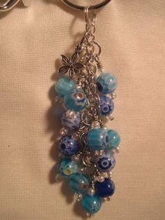 Blue Millefiori Round Glass Bead Purse Charm / Key Chain by FoxyFundanglesByCori, $10.00
