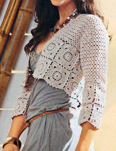 Patrones de Tejido Gratis - chaqueta corta en beige - cream crochet cardi / bolero¨w/ granny square edgings - free pattern (hva)