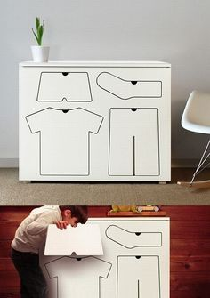 Cute Idea for kids room so they know where each piece of clothing they have goes. Would look cuter if the dresser was a color or the drawers were painted a color....but thats just me.
