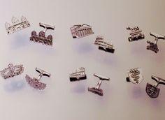 Gemelli con simboli o monumenti città  in argento 925