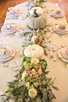 Fall Decor Inspiration  - I love this gorgeous table centerpiece!  Fall flowers in dusty muted fall tones and creamy white and blue pumpkins!