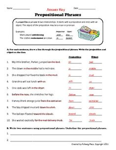 Printables Prepositional Phrases Worksheet underlining prepositional phrase worksheet also many other phrases practice page a grammar onesie upper elementary grades or middle school