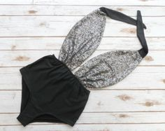 Swimsuit High Waisted Vintage Style - Black And Gunmetal Silver Gray Sequin - Backless One Piece Retro Pin-up Bathing Suit Swimwear Sheer One Piece Swimsuit, One Piece Swimwear, Mode Vintage, Vintage Style, Jamaica Outfits, Timeless Fashion, Vintage Fashion, Swimming Costume, Women Swimsuits