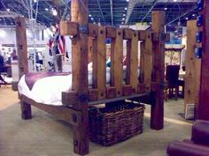 Custom bed frame made from reclaimed Oregon custom milled barn wood timbers / available for purchase @ Barnwood Naturals, LLC www.barnwoodnaturals.com