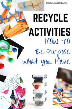 Recycle Activities for Kids Play Ideas - DIY Recycling What Activities, Steam Activities, Kids Learning Activities, Indoor Activities, Educational Activities, Teaching Science, Summer Activities, Teaching Ideas, Recycling For Kids