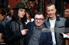 Model Louis Kurihara, Fashion Designer Alber Elbaz and Lanvin men fashion designer Lucas Ossendrijver pose after the Lanvin Menswear Spring/Summer 2016 show as part of Paris Fashion Week. Held at 'Ecole Nationale Superieure des Beaux Arts' on June 28, 2015 in Paris, France.