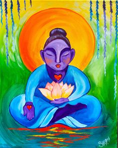 Buddha and Lotus Flower Step by Step Beginner Acrylic Painting tutorial Acrylic Painting For Beginners, Acrylic Painting Tutorials, Acrylic Art, Acrylic Paintings, Art Paintings, Painting Lessons, Art Lessons, Painting & Drawing, The Art Sherpa
