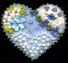 Wool Felt Crazy Quilt Heart Pin C - SORRY, THIS IS SOLD