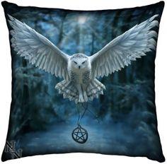 Anne Stokes Awaken Your Magic Owl in Flight Cushion