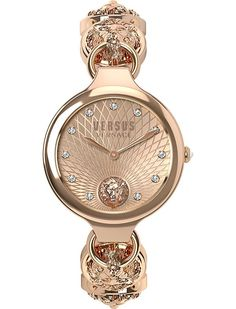 VERSUS Lion-head rose gold-plated watch