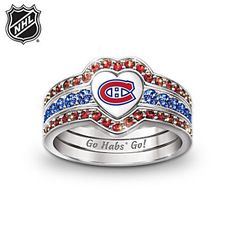 Officially NHL®-licensed heart-shaped trio ring set is 3 rings in Montreal Canadiens® logo, sparkling crystals, silver plated, gift box. Heart Jewelry, Heart Ring, Fine Jewelry, Montreal Canadiens, Championship Rings, Things To Buy, Ring Designs, A Team, Nhl