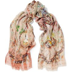 Etro Printed silk-chiffon scarf (4.160 ARS) ❤ liked on Polyvore featuring accessories, scarves, orange, floral shawl, etro scarves, multi colored scarves, floral print scarves and colorful shawl