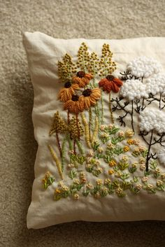 crewel embroidery pillow by mellow_stuff so many crewel kits back then..loved doing them