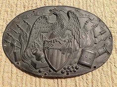 Civil War Period Patina Coated Brass Eagle E Pluribus Unum Cannons Drum Plate