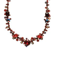 Pear and baguette line necklace in Cranberry by Sorrelli