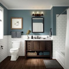 √ 17 Best Bathroom Renovation Using Attractive Bathroom Paint Colors & Schemes Bathroom Renos, Bathroom Interior, Lowes Bathroom Vanity, Interior Paint, Tile On Bathroom Wall, Tiled Walls In Bathroom, Bathroom With Wood Floor, Shower With Half Wall, Bathroom With Window
