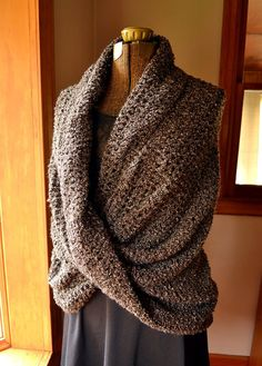 Oversized Shoulder Wrap Shawl Dark Brown Mobius by LazyTcrochet