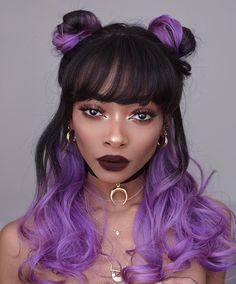 Hairstyles black hair color purple Ideas for 2019 Curly Hair Styles, Medium Hair Styles, Natural Hair Styles, Hip Hop Hair Styles, Hair Color Purple, Hair Color For Black Hair, Purple Ombre, Grunge Hair, Trendy Hairstyles
