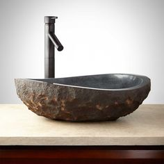 Asymmetrical Granite Vessel Sink with Dark Granite Chiseled Exterior - Vessel Sinks - Bathroom Sinks - Bathroom Copper Vessel Sinks, Rectangular Vessel Sink, Vessel Sink Vanity, Glass Vessel Sinks, Sink Faucets, Bathroom Sinks, Bathroom Ideas, Master Bathroom, French Bathroom