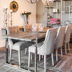Home Decor - Entryway by Mary Bender - Glam up your dining room with our gorgeous Maddox reclaimed wood dining table. Reclaimed Wood Dining Table, Reclaimed Wood Furniture, Dining Room Furniture, Dining Chairs, Decor Interior Design, Interior Decorating, Luxury Dining Room, Entryway Decor, Hygge House