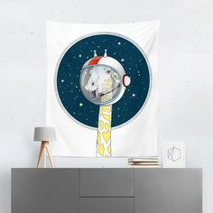 Searching for a Space Giraffe Tapestry? Shop for high quality Wall Tapestries designed by independent artists on W. Cool Tapestries, Room Tapestry, Tapestry Design, A Team, Vivid Colors, Hand Sewing, Giraffe, Congratulations, Oriental
