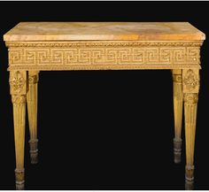 An Italian Neoclassical carved giltwood console table, probably Rome, circa 1780. Height 36 1/2 in.; width 44 in.; depth 23 1/2 in. 93 cm; 112 cm; 60 cm