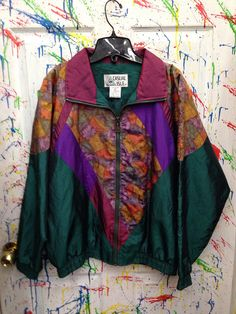 Vintage 80's windbreaker zip up jacket for both men and women size Medium green purple orange yellow abstract leafy motif RagsAGoGo, $28.00