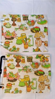 """Vintage 70's Pair of Retro Cafe Kitchen Curtains Fruit Cheese Utensils 21"""" x 17"""" #Handmade"""