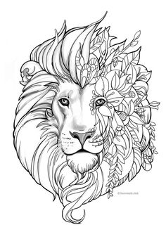 Rose Drawing Discover Fantasy Lion - Printable Adult Coloring Page from Favoreads (Coloring book pages for adults and kids Coloring sheets Coloring designs) Lion Coloring Pages, Coloring Sheets For Kids, Printable Coloring Sheets, Printable Adult Coloring Pages, Flower Coloring Pages, Coloring Pages To Print, Coloring Books, Kids Coloring, Free Coloring